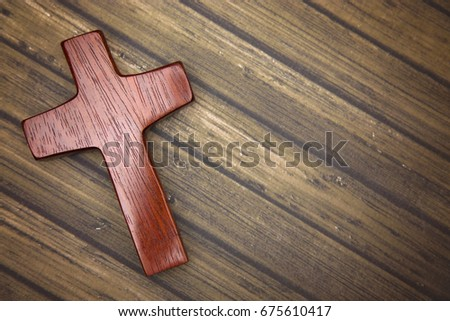 A Simple Wooden Cross #675610417