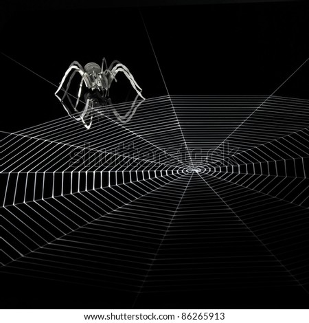 a simplified spider made of metal and a artificial spiderweb. Red illuminated studio shot in black back