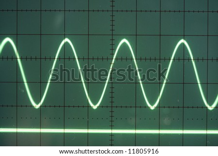 a sine wave on the screen of an old oscilloscope