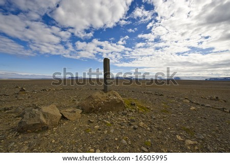 A single Basalt column in the Kjolur Highlands in Iceland, a memorial for the early explorers of this remote region