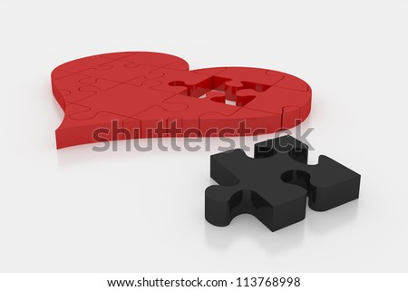 A single black piece that differs from the other red pieces of heart puzzle on white plane. Render with clipping path - stock photo