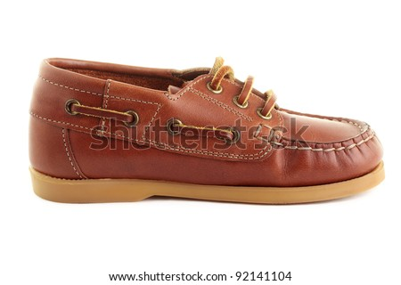 A single boat shoe or top-sider, isolated on a white background.