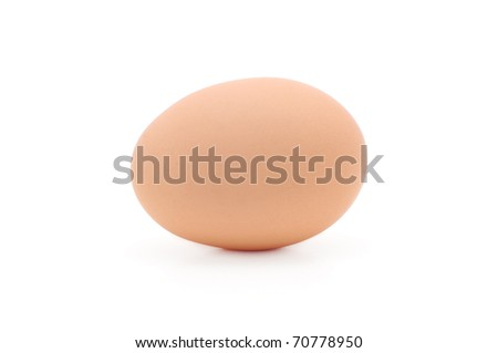 A single brown egg isolated on a white background