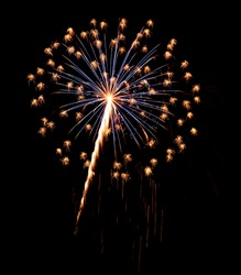 A single burst of Fireworks in the night sky.