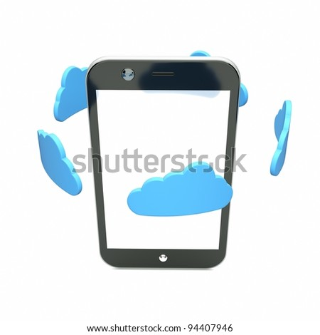 a single cellphone with blue clouds on white