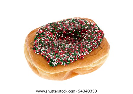 A single donut with chocolate icing and sprinkles on white