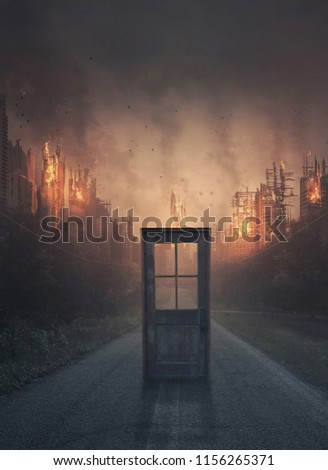 A single door in the middle of a road leading to a city under destruction