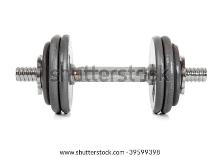 A single dumbbell on a white background