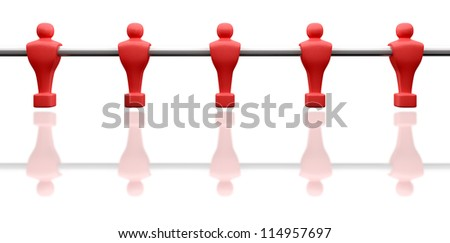 A single foosball pole with 5 red players attached on an isolated background