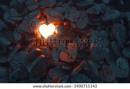 A single glowing heart shines among many broken hearts. 3D rendered illustration Photo stock ©