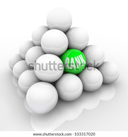 A single green ball marked Rank in the middle of many others to represent your ranking in relation and comparison to your competition or others in your market - stock photo