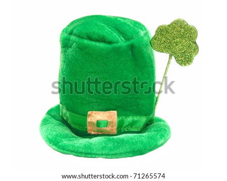 A single green St Patrick's Day hat isolated on white