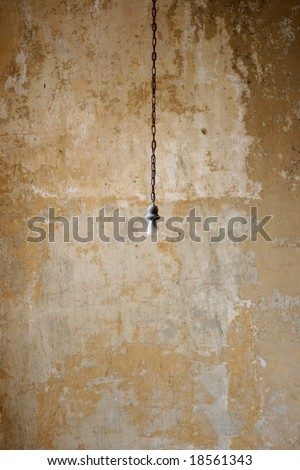 a single hanging light bulb