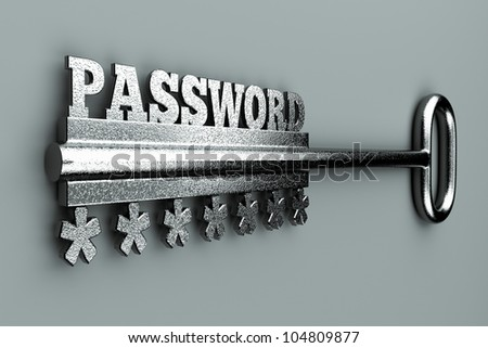 """a single key with word  """"password"""" as a concept"""