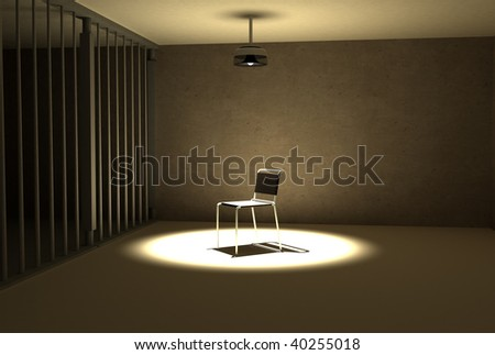 a single light hangs of the chair of interrogation at prison