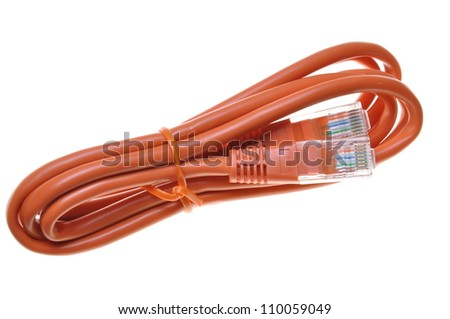 A single pink internet network patch cord