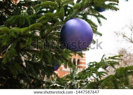 a single purple christmas bauble on a tree #1447587647