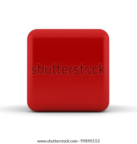 A single red rounded 3D cube isolated on white - abstract background