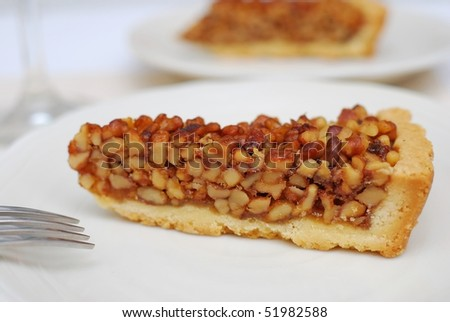 A single slice of delicious looking tart on white plate. For concepts such as food and beverage, diet and nutrition, and healthy eating.