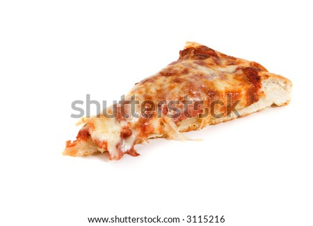 A single slice of pizza on a white background