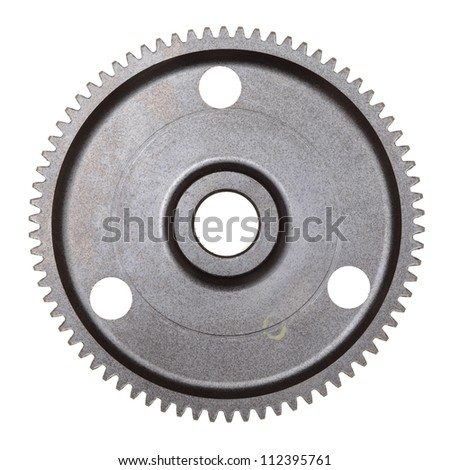 A single steel gear isolated on a white background