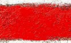 A single strip of bright red paint brush stroke extreme closeup abstract background texture, frame, creative wide empty blank red backdrop, border copy space, red colored painted wall grunge wallpaper