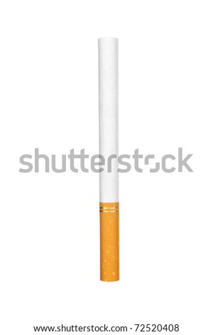 A single unlit cigarette isolated on white