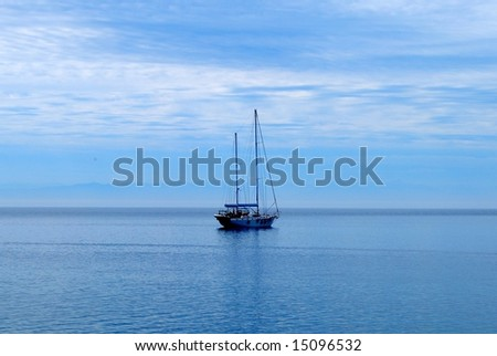 A single yacht in the middle of Baikal lake