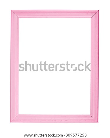 A4 size empty copyspace wooden photo frame colored with pink paint, isolated over the white background