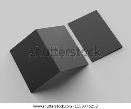 A4 size single pocket reinforced black folder mock up isolated on gray background. 3D illustration
