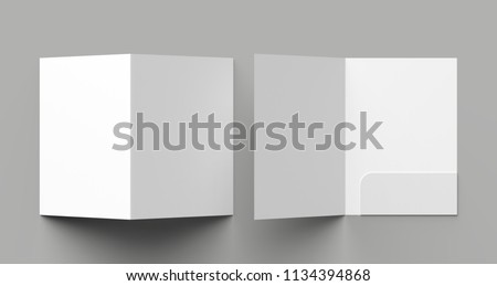 A4 size single pocket reinforced folder mock up isolated on gray background. 3D illustration Foto stock ©