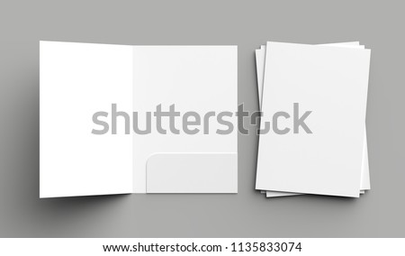 A4 size single pocket reinforced folder mock up isolated on gray background. 3D illustration