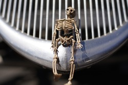 A skeleton ornament on the grill of a restored hotrod