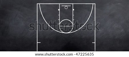 A sketch of a baasketball court attacking end to strategize on during the game