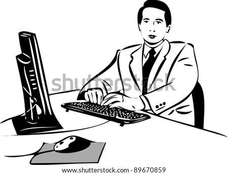 a sketch of a guy working at the computer