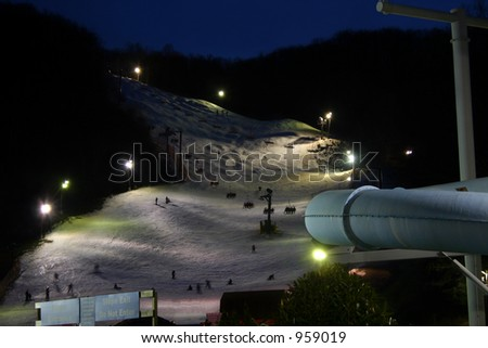 A ski resort at night. - stock photo