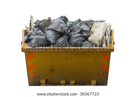 a skip full of refuse/trash sacks isolated on a white background