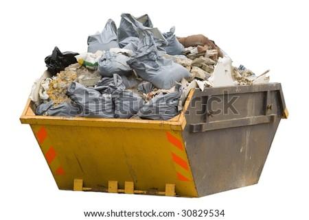 a skip full of refuse/trash sacks isolated on a white background