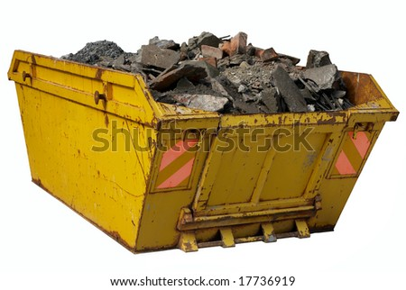 A skip full of rubble isolated over white. - stock photo