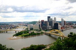A skyline of Pittsburgh PA taken from the Incline.