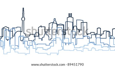 A skyline silhouette of the city of Toronto, Canada