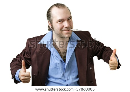 A sleazy car salesman, Con man, retro suit wearing man with happy face and doing the two thumbs up sign.
