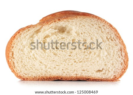 A slice of bread on a white background.