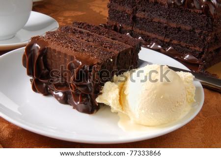 A slice of chocolate cake and vanilla ice cream