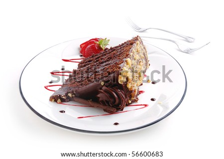A slice of Chocolate cake on white