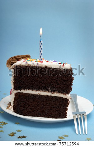 A slice of chocolate cake with a single lit candle.