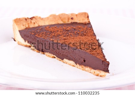a slice of chocolate tart