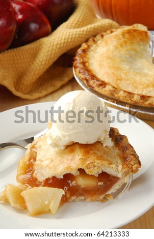 A slice of fresh apple pie