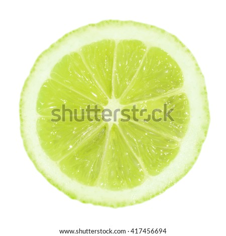 A slice of lime isolated on a white background #417456694