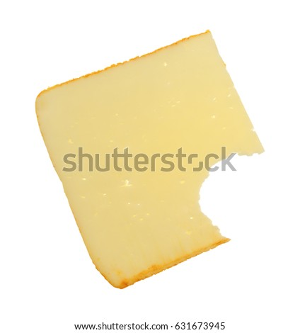 A slice of muenster cheese that has been bitten isolated on a white background.